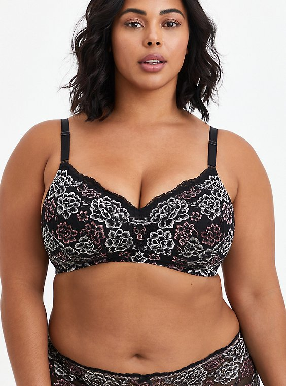 Lightly Lined Wire-Free Bra - Black & Pink Lace with 360° Back Smoothing™ , , hi-res