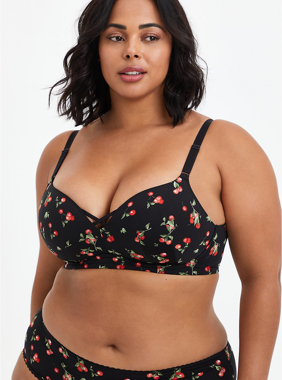 Plus Size Push-Up Wire-Free Bra - Cherries Black with 360° Back Smoothing™, CHERRY, hi-res