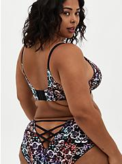 XO Push-Up Plunge Bra - Microfiber Floral + Skulls with 360° Back Smoothing™, MIRRORED SKULL FLORAL, alternate