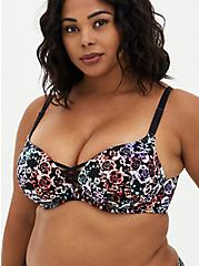 XO Push-Up Plunge Bra - Microfiber Floral + Skulls with 360° Back Smoothing™, MIRRORED SKULL FLORAL, hi-res