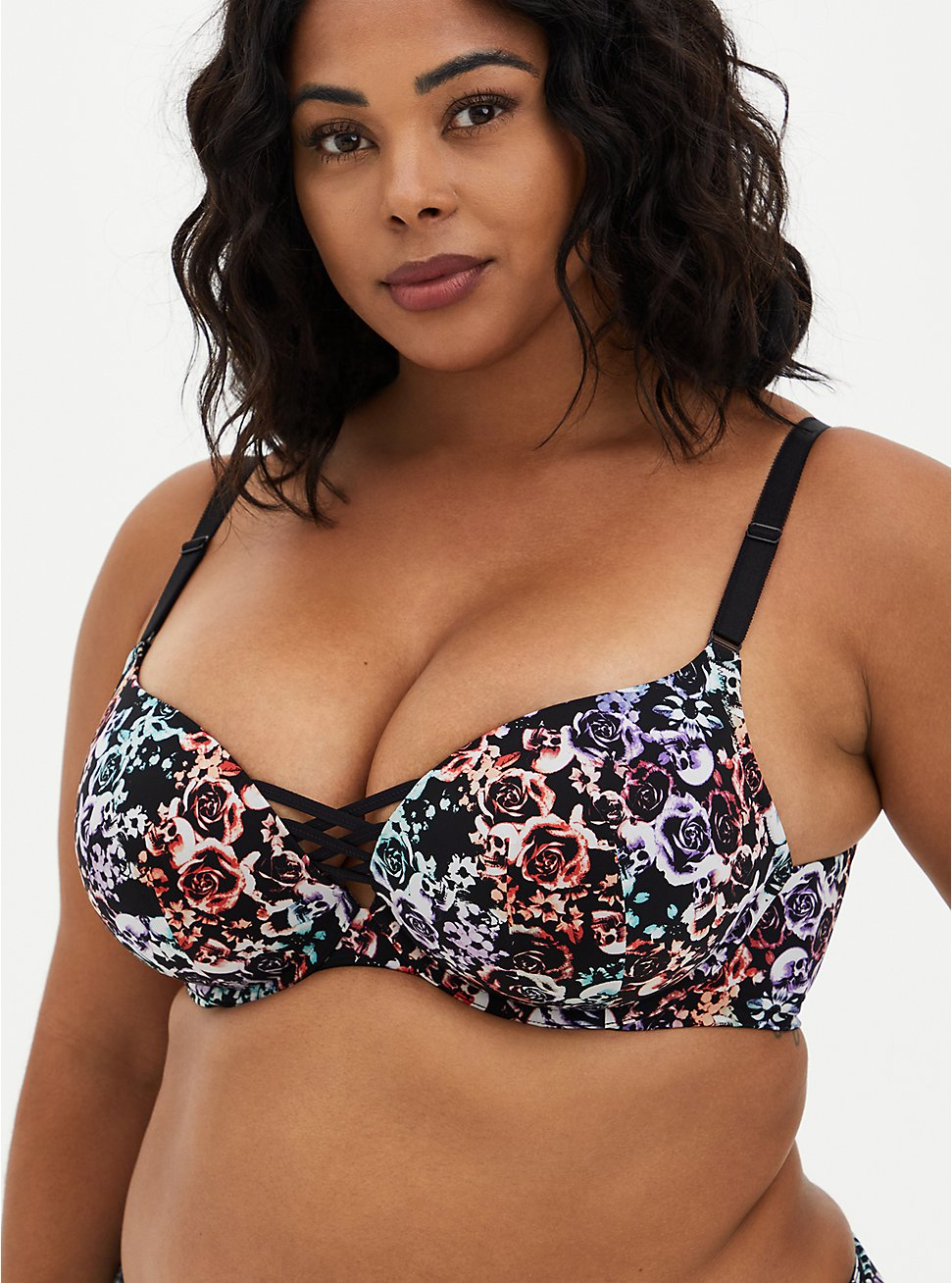 XO Push-Up Plunge Bra - Microfiber Floral + Skulls with 360° Back Smoothing™, , fitModel1-hires