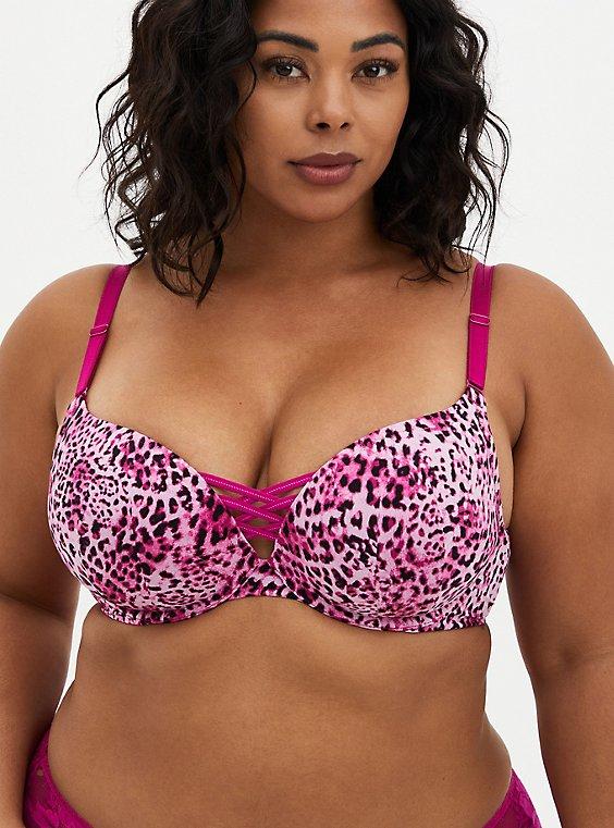 XO Push-Up Plunge Bra - Microfiber Fuschia Leopard with 360° Back Smoothing™, LEOPARD, hi-res
