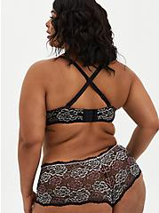 Plus Size XO Push-Up Plunge Bra - Lace Black & Pink Floral with 360° Back Smoothing™, , alternate