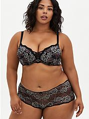 Plus Size XO Push-Up Plunge Bra - Lace Black & Pink Floral with 360° Back Smoothing™, , fitModel1-alternate