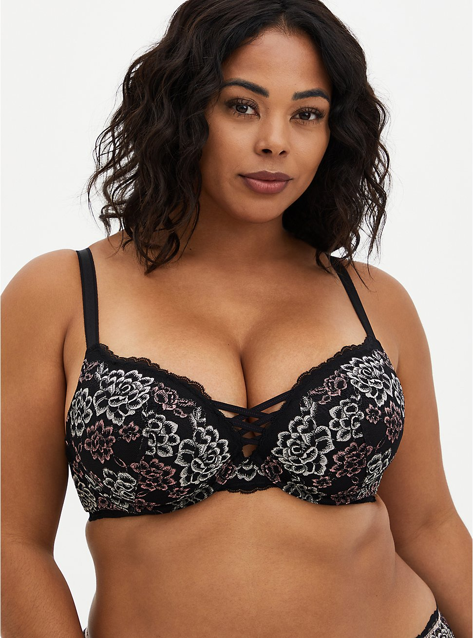 Plus Size XO Push-Up Plunge Bra - Lace Black & Pink Floral with 360° Back Smoothing™, , fitModel1-hires
