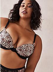 Push-Up Plunge Bra - Lace Leopard , MYSTIC LEOPARD ROSEDUST BEIGE, hi-res