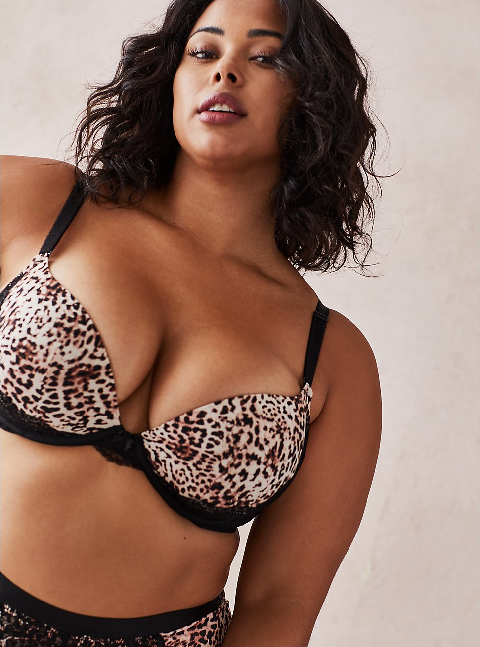 Push-Up Plunge Bra - Lace Leopard , , fitModel1-hires