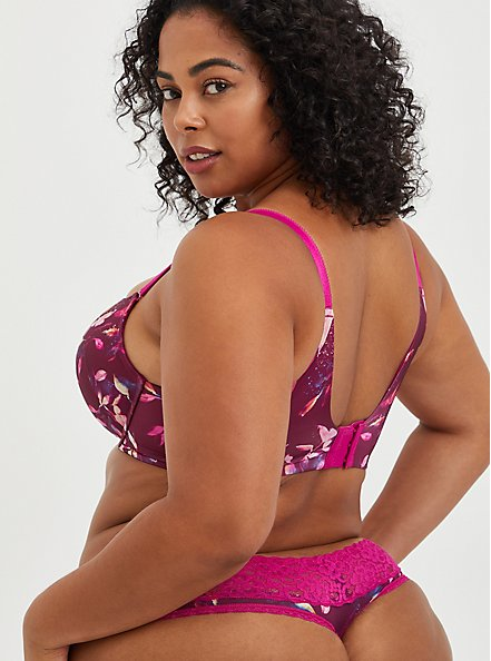 Push-Up T-Shirt Bra - Water Leaves Fuchsia with 360° Back Smoothing™ , LEAVES - MULTI, alternate