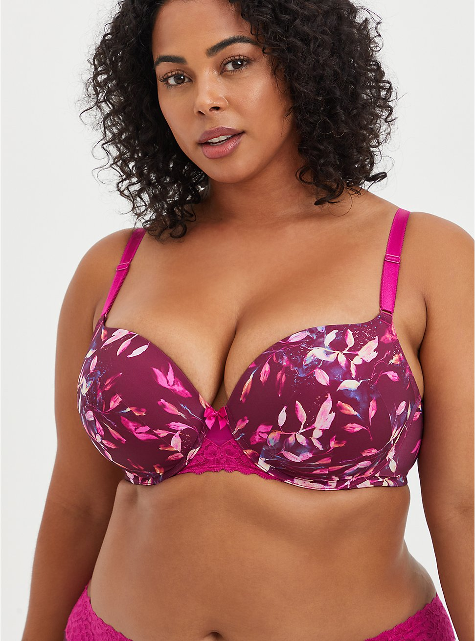 Push-Up T-Shirt Bra - Water Leaves Fuchsia with 360° Back Smoothing™ , LEAVES - MULTI, hi-res