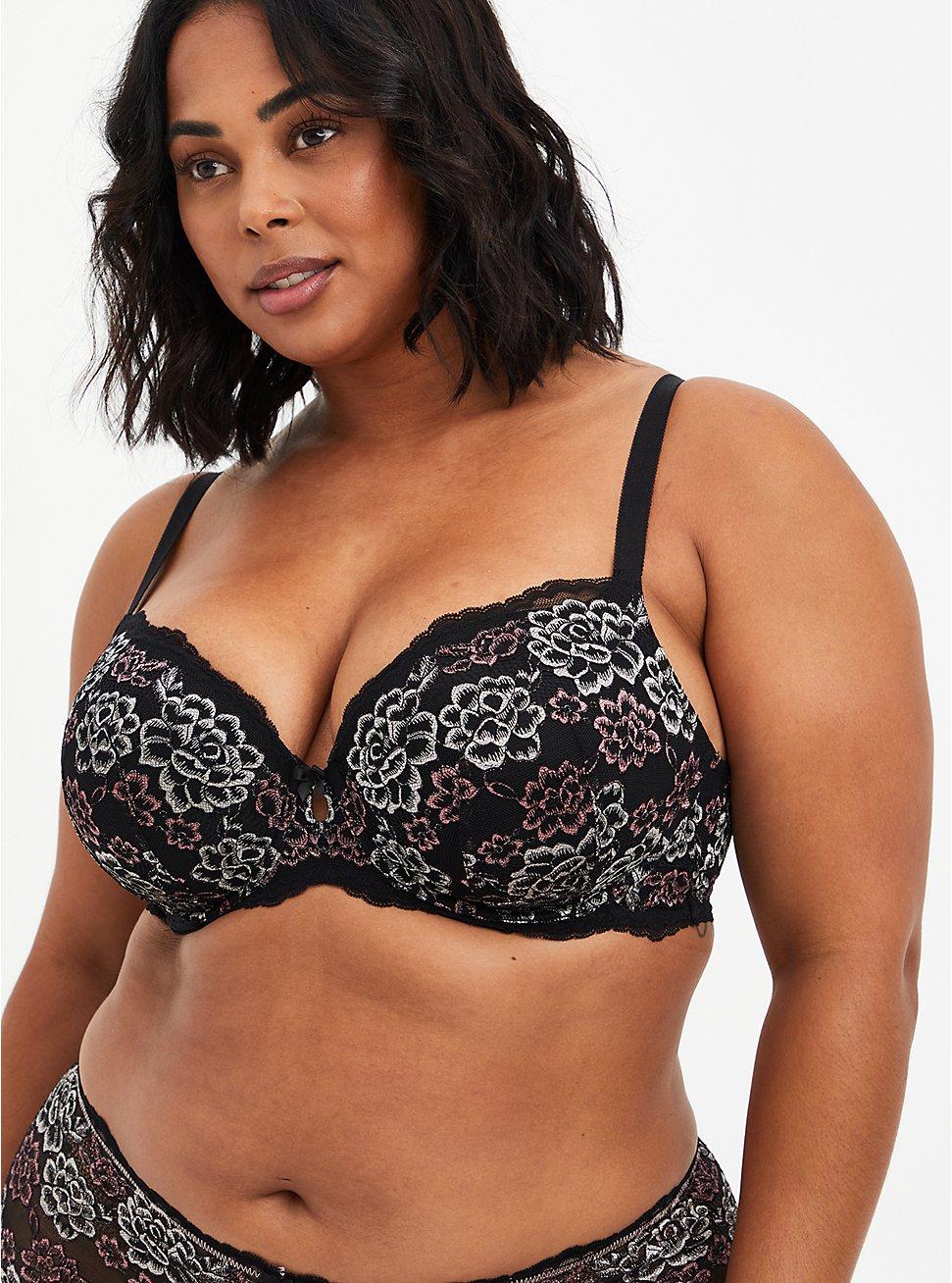 Lightly Lined T-Shirt Bra - Lace Black & Pink, , hi-res