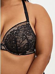Black Lace Lightly Lined Front Closure T-Shirt Bra, RICH BLACK, alternate