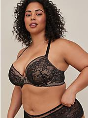 Black Lace Lightly Lined Front Closure T-Shirt Bra, , fitModel1-alternate