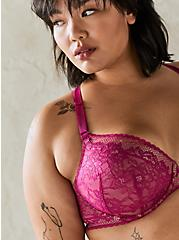 Plus Size Fuchsia Lace Lightly Lined Front Closure T-Shirt Bra, , fitModel1-alternate