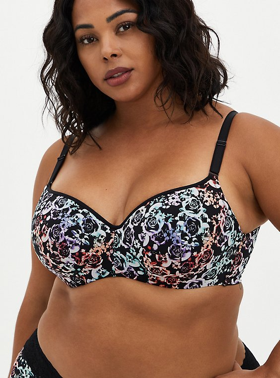 Full Coverage Balconette Bra - Mirrored Skulls with 360° Back Smoothing™, MIRRORED SKULL FLORAL, hi-res