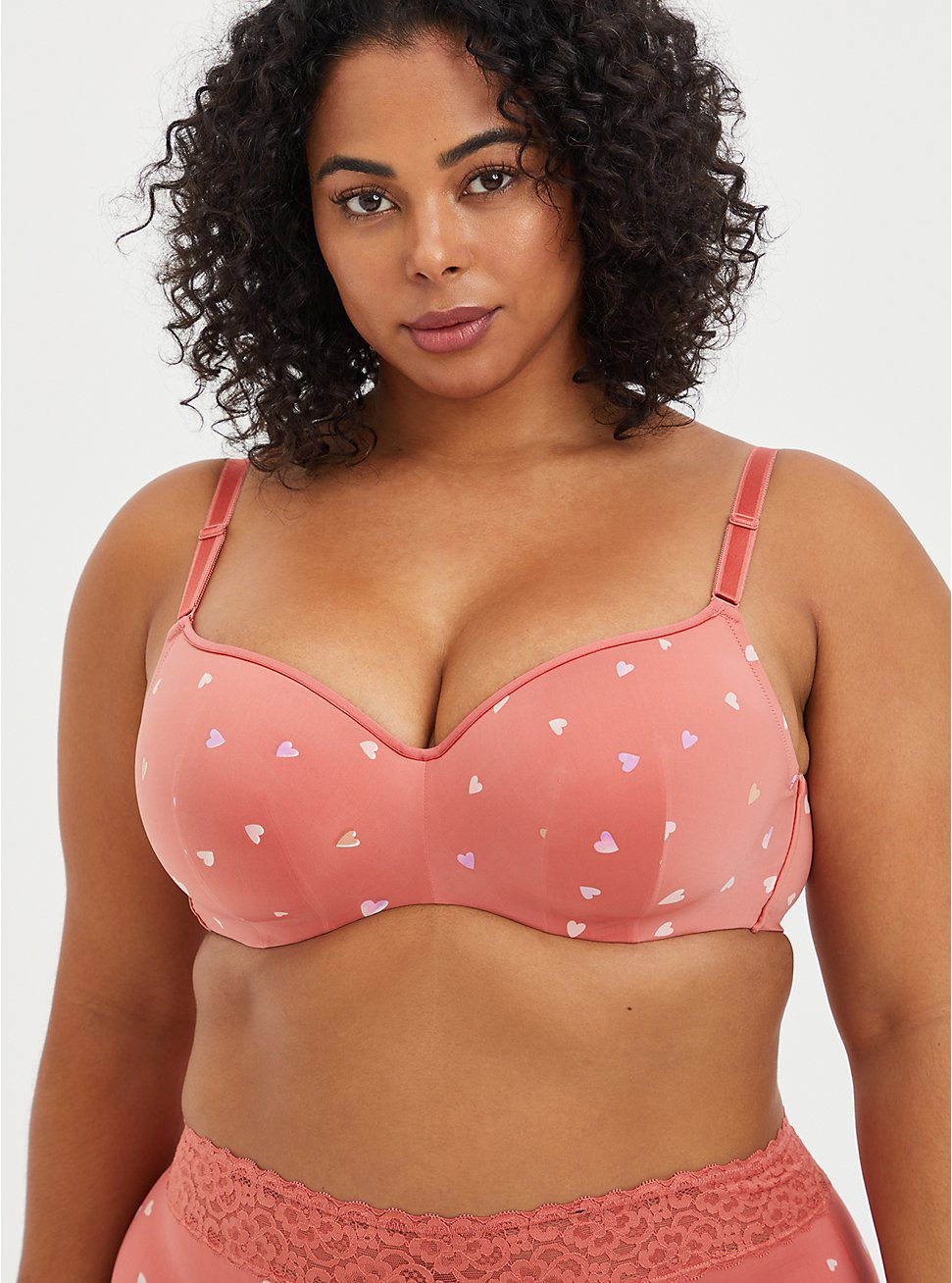 Full Coverage Balconette Bra - Rose Hearts with 360° Back Smoothing™ , HEARTS OF GOLD RED, hi-res