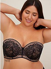 Plus Size Black Lace Push-Up Multiway Strapless Bra, , fitModel1-alternate