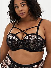 Plus Size Strappy Push-Up Strapless Bra - Lace Leopard, , fitModel1-hires