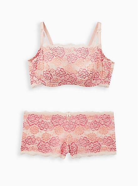 Bandeau Multiway Unlined Balconette Bra - Lace Pink, LIGHT PINK, alternate