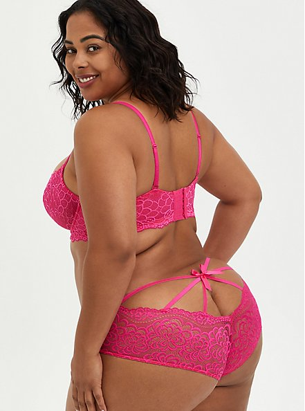 Pink Lace Unlined Balconette Bra, BEET ROOT PINK, alternate