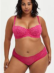 Pink Lace Unlined Balconette Bra, , fitModel1-alternate