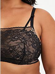 Black Lace Bandeau Multiway Unlined Balconette Bra, , fitModel1-alternate