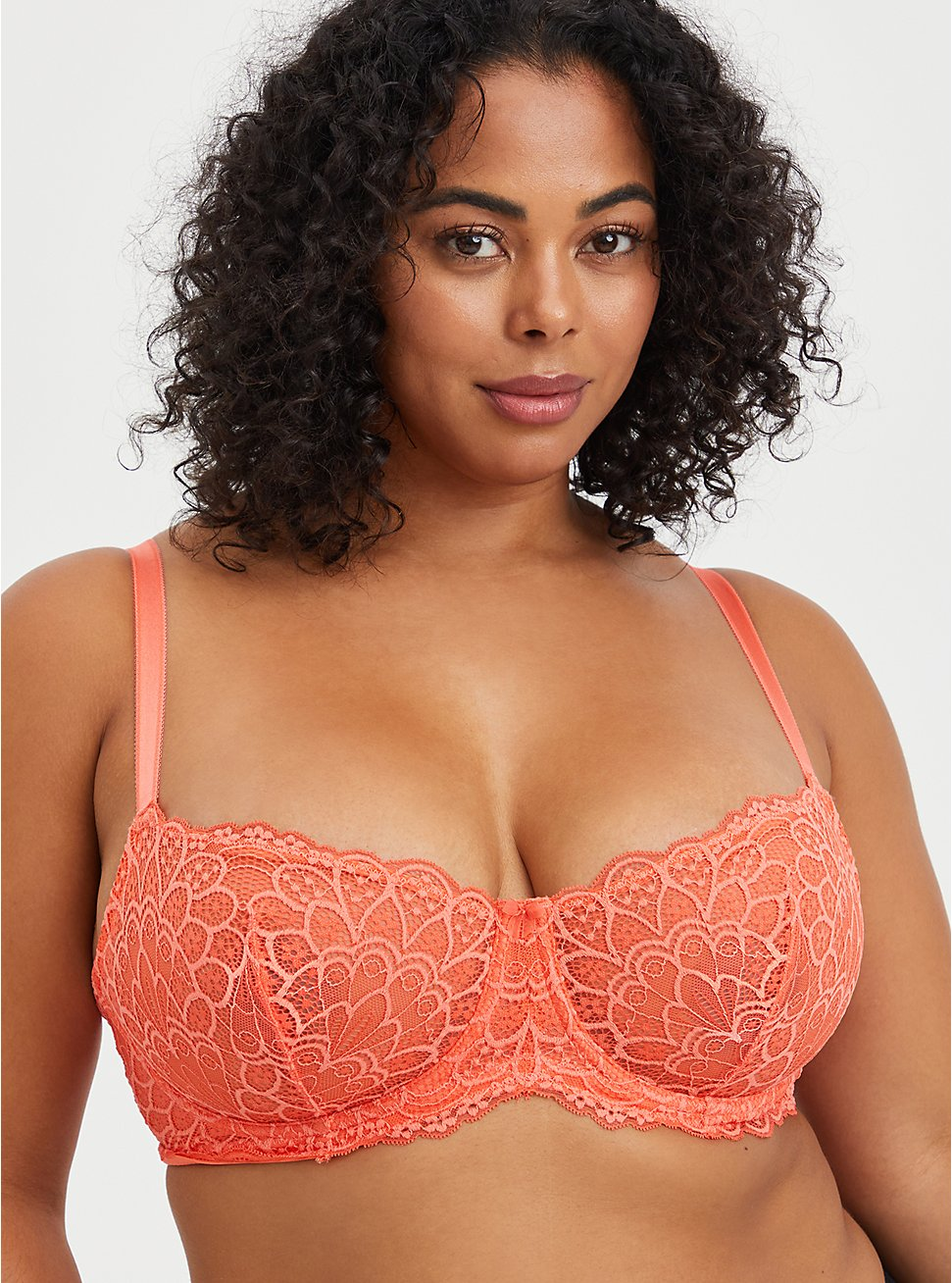 Unlined Balconette Bra - Ditsy Floral Lace Coral , LIVING CORAL, hi-res