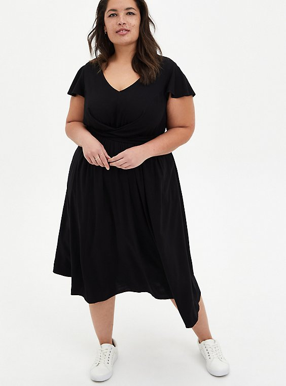 Black Challis Button Twist Front Midi Dress, DEEP BLACK, hi-res