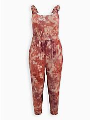 Super Soft Tie-Dye Pink Tie-Strap Jumpsuit, DYE - MUSHROOM, hi-res