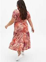 Plus Size Super Soft Tie-Dye Pink Tiered Midi Skater Dress, DYE - MUSHROOM, alternate