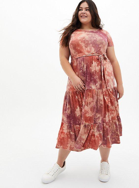 Plus Size Super Soft Tie-Dye Pink Tiered Midi Skater Dress, , hi-res