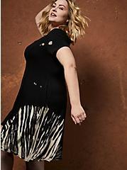 Super Soft Tie-Dye Black Trapeze Mini Dress, TIE DYE-BLACK, alternate
