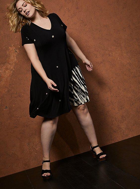 Super Soft Tie-Dye Black Trapeze Mini Dress, TIE DYE-BLACK, hi-res