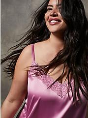 Plus Size Blush Pink Stretch Satin & Lace Trim Sleep Cami , PINK, alternate