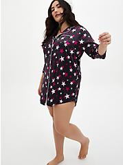 Black & Pink Star Stretch Satin Sleep Dress, MULTI, alternate