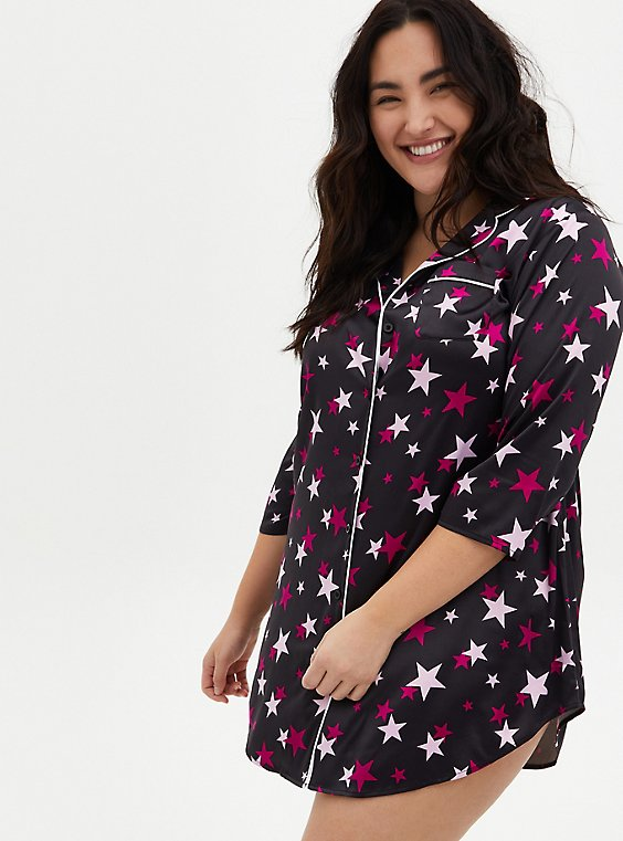 Black & Pink Star Stretch Satin Sleep Dress, , hi-res