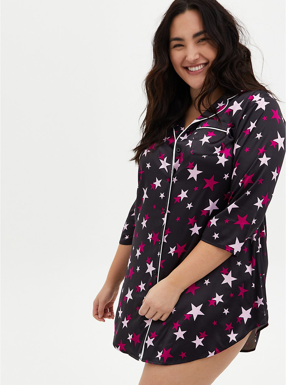 Black & Pink Star Stretch Satin Sleep Dress, MULTI, hi-res