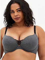 Heather Charcoal Grey 360° Back Smoothing™ XO Push-Up Plunge Bra , HEATHER  CHARCOAL, hi-res