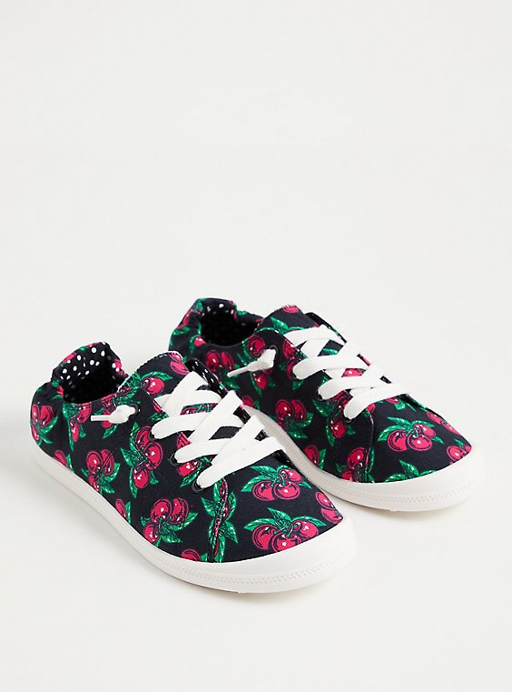 Plus Size Betsey Johnson Riley - Black Cherry Ruched Sneaker (WW), BLACK, hi-res