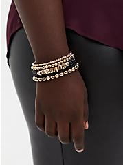 Fearless Black & Gold Beaded Stretch Bracelet Set - Set Of 5, GOLD, alternate