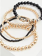 Fearless Black & Gold Beaded Stretch Bracelet Set - Set Of 5, GOLD, hi-res