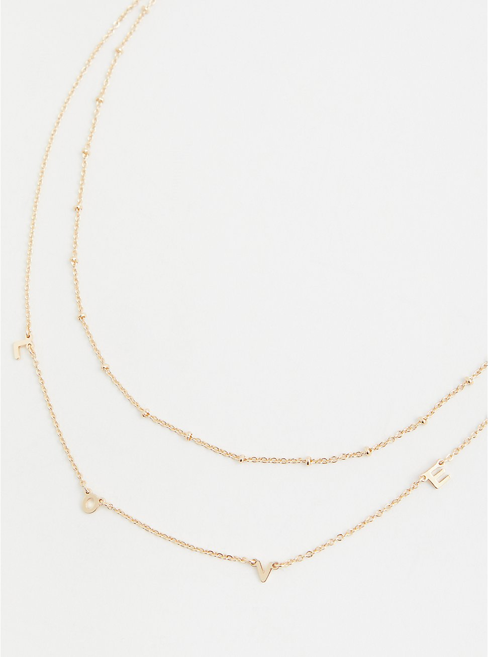 Gold-Tone Love Delicate Layered Necklace, , hi-res
