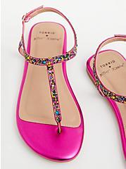 Betsey Johnson Magenta Rainbow T-Strap Sandal (WW), MAROON, alternate