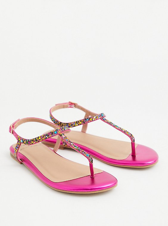 Betsey Johnson Magenta Rainbow T-Strap Sandal (WW), MAROON, hi-res