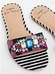 Betsey Johnson Black Faux Jewel Slide Sandal (WW), BLACK, hi-res