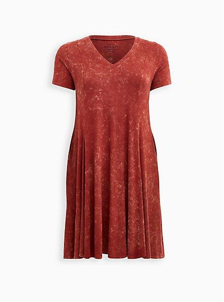 Super Soft Marsala Mineral Wash Trapeze Dress, MARSALA, hi-res