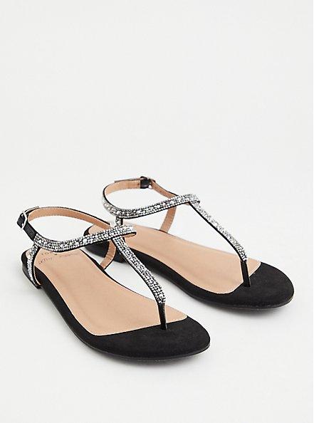 Betsey Johnson Black Rhinestone T-Strap Sandal (WW), BLACK, hi-res