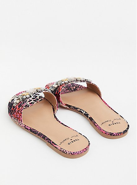 Betsey Johnson Pink Snakeskin Print Stripe Faux Jewel Slide Sandal (WW), ANIMAL, alternate