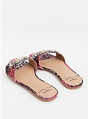 Betsey Johnson Pink Snakeskin Print Stripe Faux Jewel Slide Sandal (WW), ANIMAL, alternate