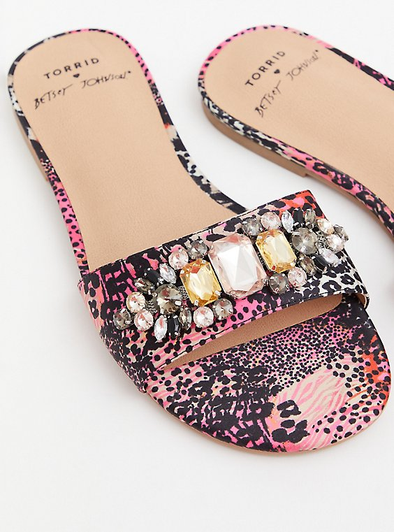 Betsey Johnson Pink Snakeskin Print Stripe Faux Jewel Slide Sandal (WW), ANIMAL, hi-res