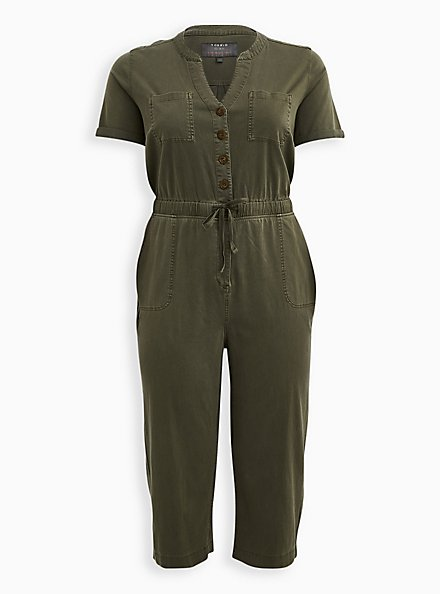 Olive Green Utility Jumpsuit, ARMY GREEN, hi-res